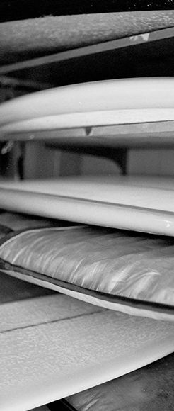 Black & white image of surfboards