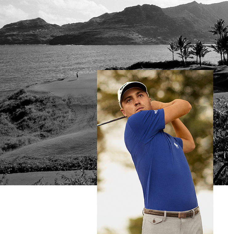 Black & white image of palm tree–dotted golf course. Justin Thomas wears royal blue Polo shirt with Big Pony at chest