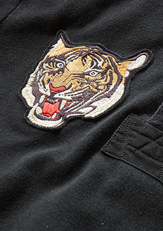 Detail shot of tiger head patch