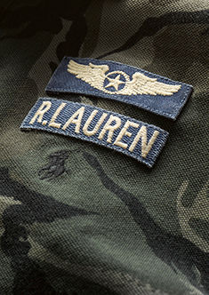 Detail shot of camo print & R. Lauren & wings patches