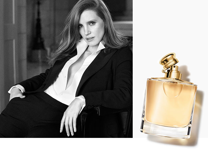 Black & white portrait of actress Jessica Chastain AND Image of Woman eau de parfum spray