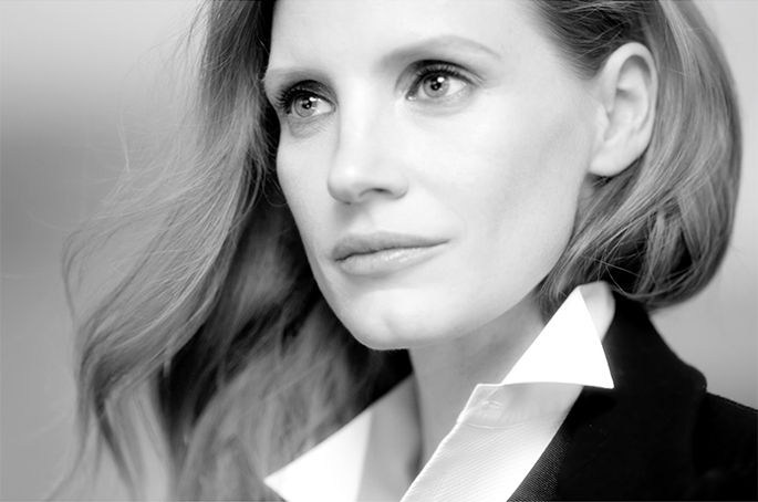 Portrait of Jessica Chastain gazing into distance