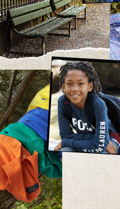 Collage of sporty tees, boy in Polo shirt, and outdoor images.