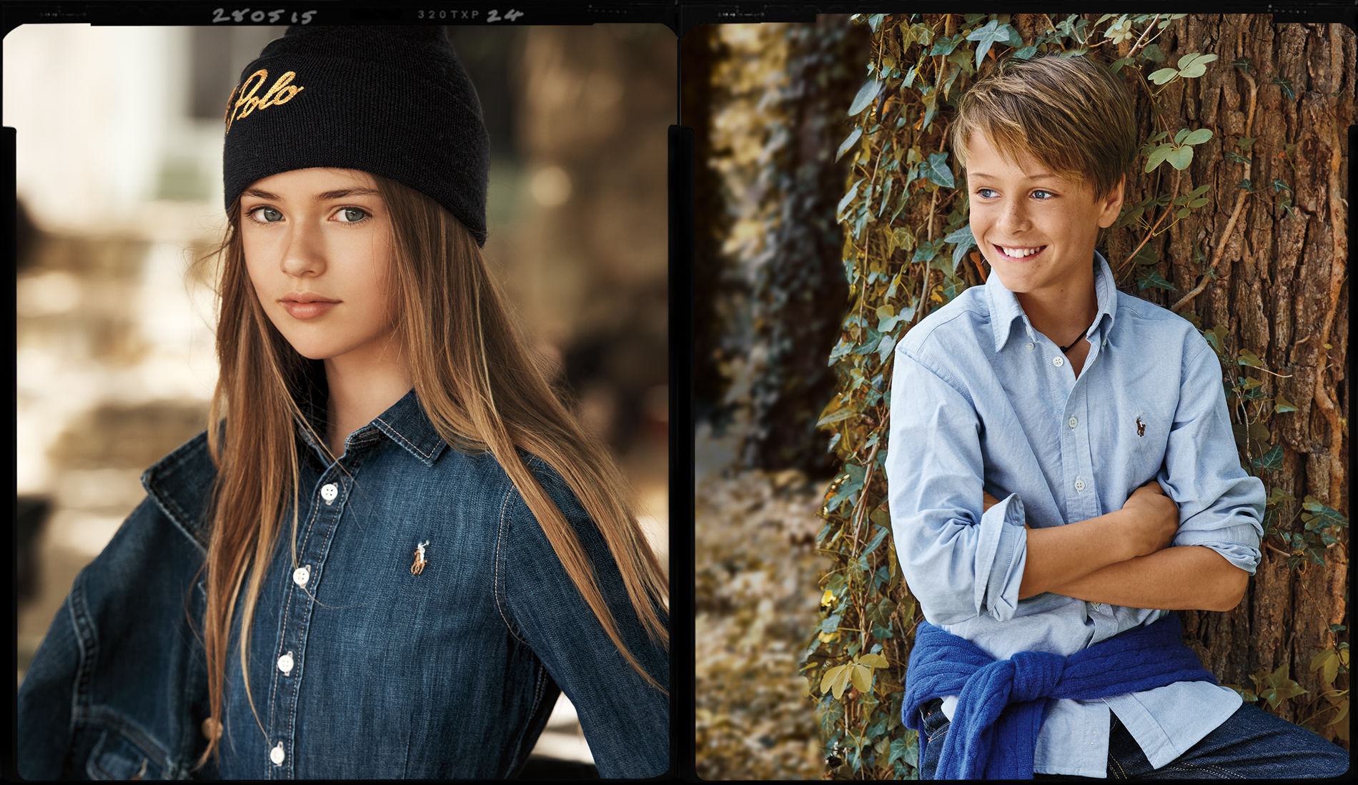 Girl wears knit black Polo hat; boy in light blue oxford shirt
