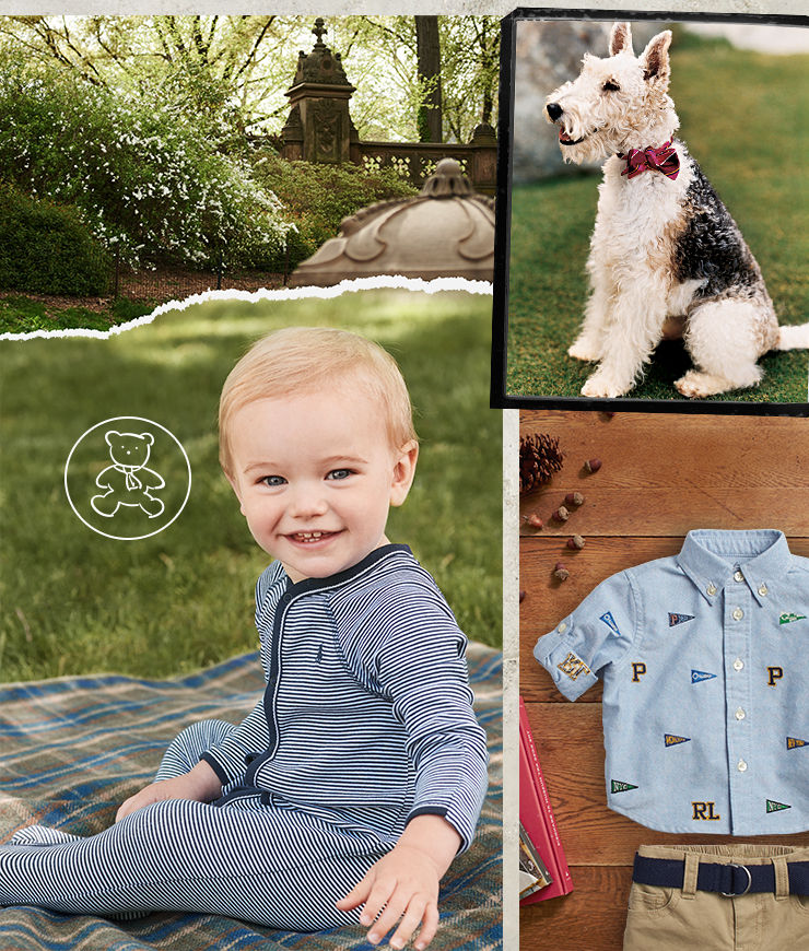 baby wears striped one-piece; dog in bow tie; outfit of shirt and chinos