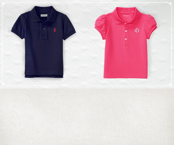 Personalized Polo shirts in navy blue and pink for boys and girls.