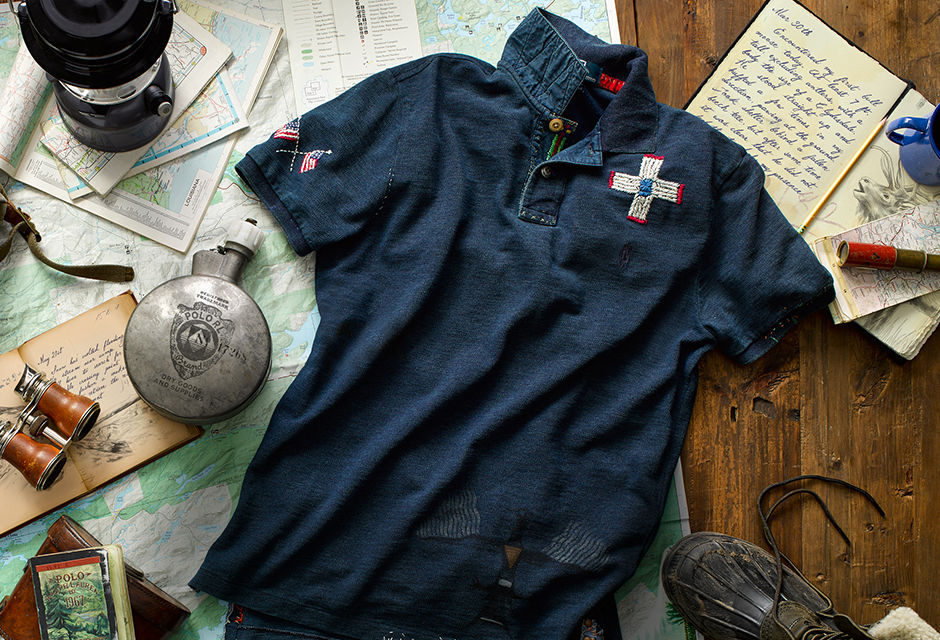 Weathered navy Polo shirt with Americana-inspired embroidery