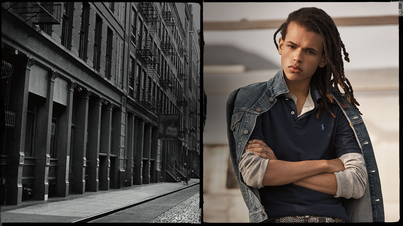 Male model in Polo shirt with denim jacket draped over shoulders
