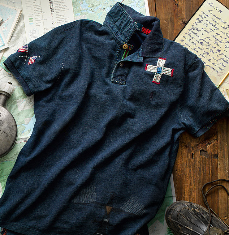 Weathered navy Polo shirt with embroidered accents