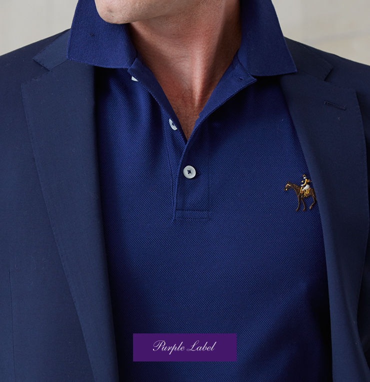 Royal blue Polo shirt worn under navy blazer