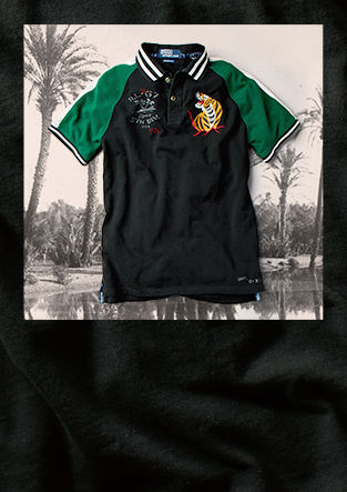 Our jacket image: Polo shirt with embroidered tiger motif at chest & contrast sleeves