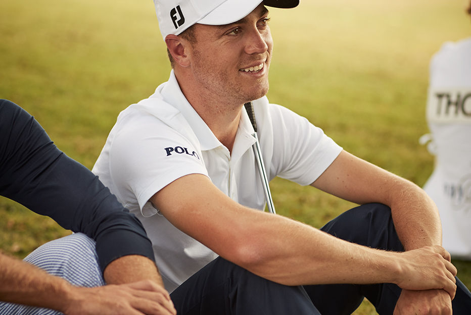 Justin Thomas wears Polo Golf outfit on golf course.