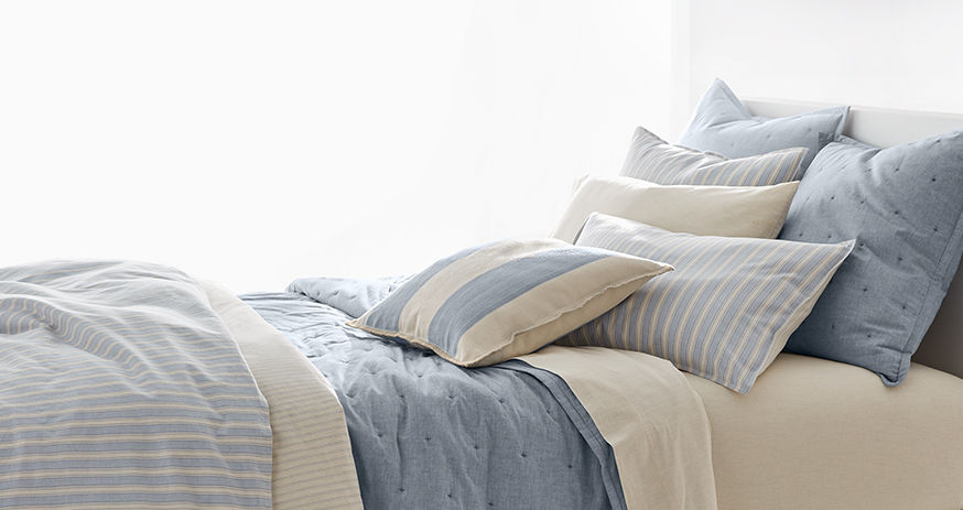 Bedding set featuring chambray & stripes