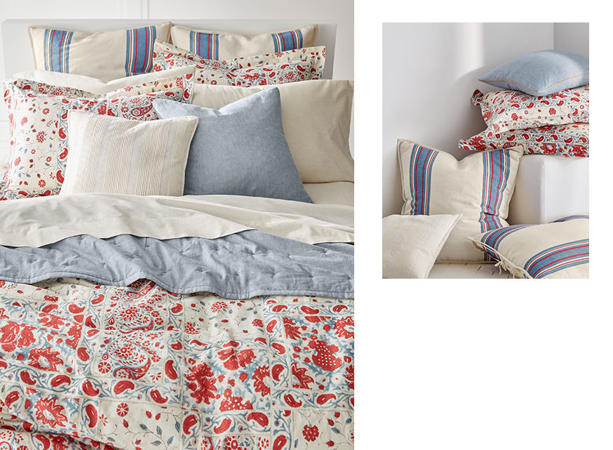 Red-and-blue paisley-print duvet and matching pillows & sheets