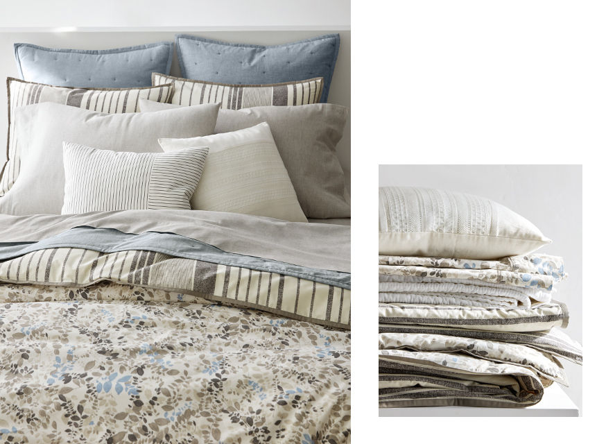 Duvet with floral print that reverses to striped pattern & neutral sheeting