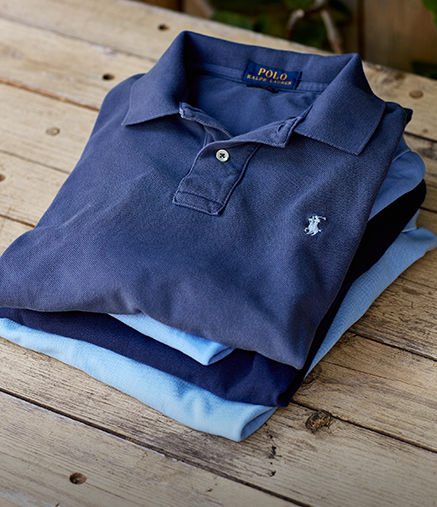 Stack of folded Polo shirt in shades of blue