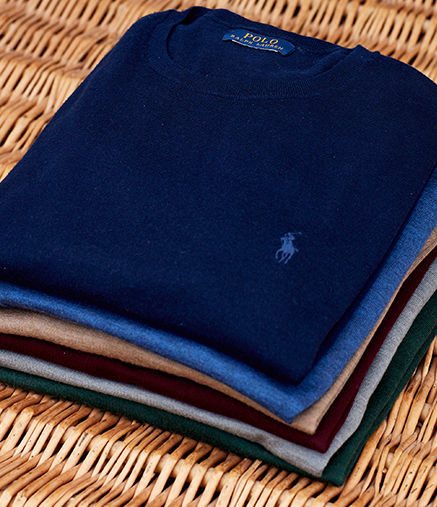 Blue half-zip sweater with Polo Pony at chest