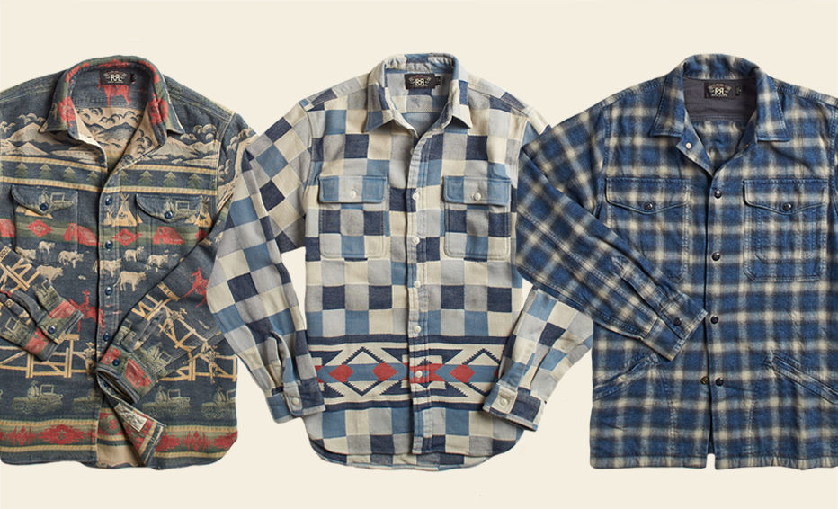 Button-down shirts in various vintage-inspired prints
