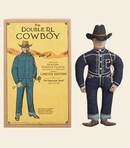 Illustration of cowboy next to stuffed cowboy doll