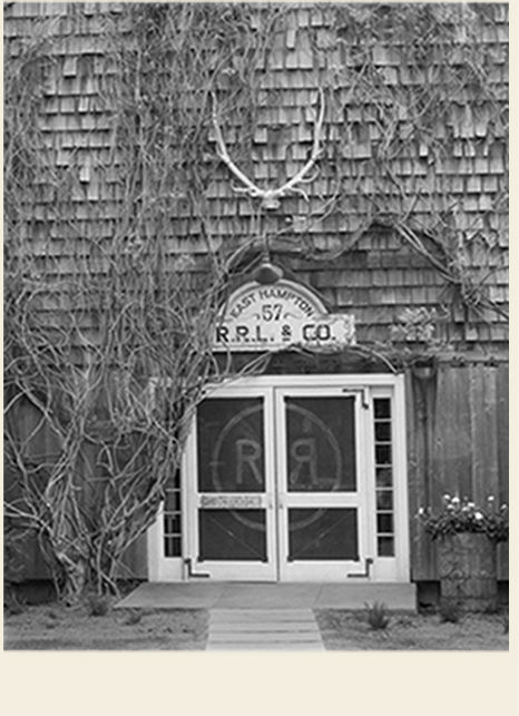 Black & white image of Double RL storefront
