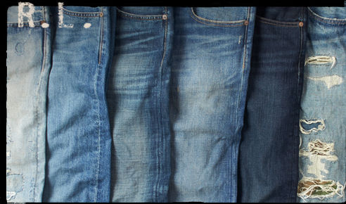 Row of jeans in varying washes and styles