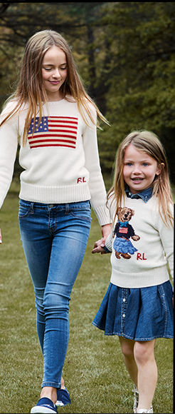 Girl wears patriotic sweater and jeans; girl wears Polo Bear sweater and skirt