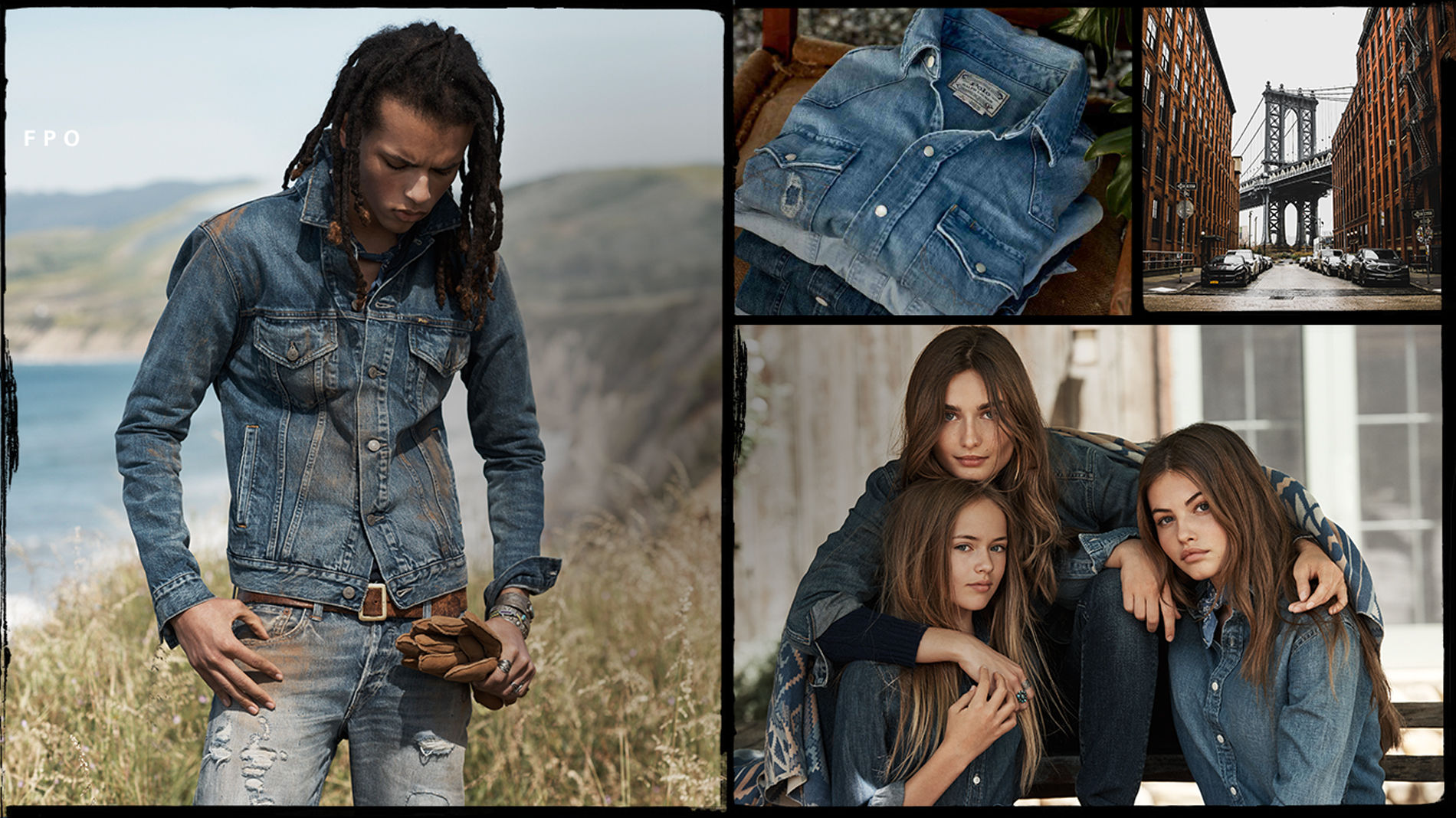 Men, women & kids modeling all-denim fall looks