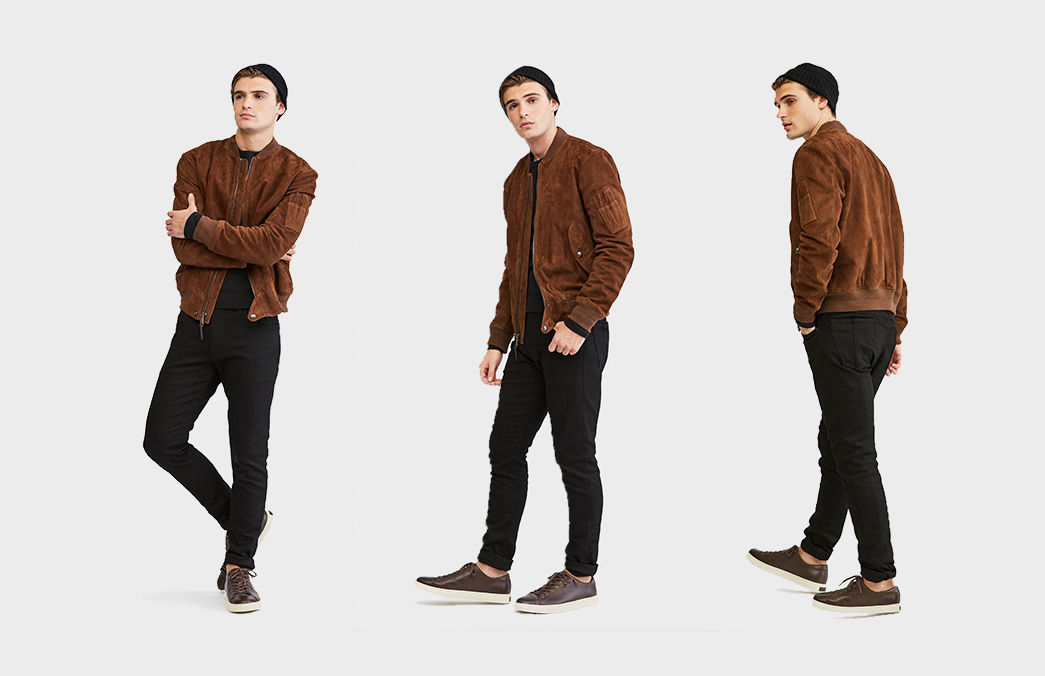 Three images of model in suede jacket paired with stretch jeans