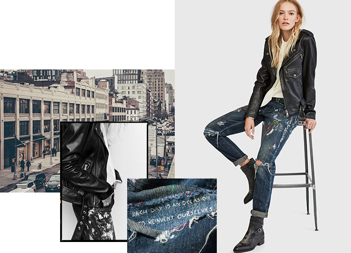 Model in paint-splattered jeans next to close-up image of distressing
