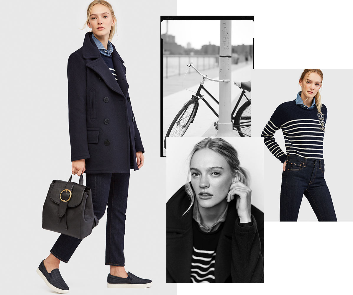 Model wears dark-wash cropped jeans with peacoat & striped top