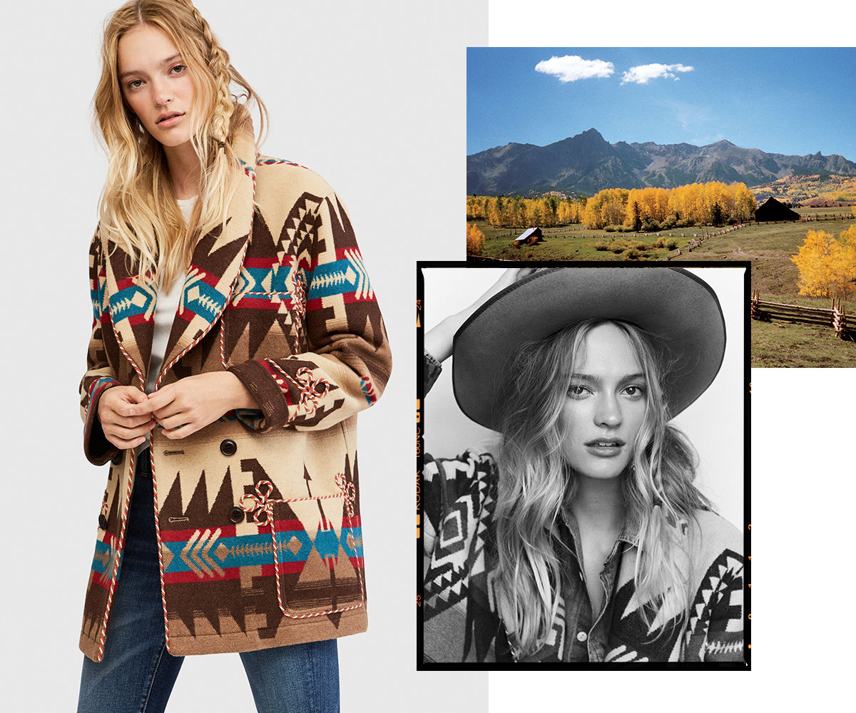 Model wears cowboy hat & southwestern-print coat with timeworn jeans