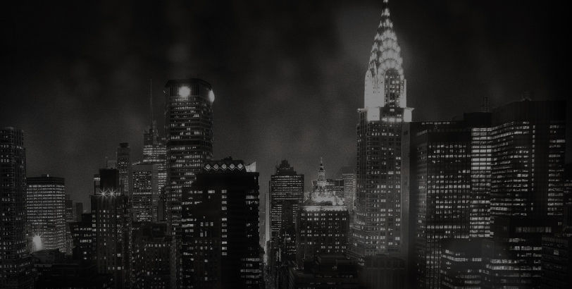 Nighttime image of NYC skyline