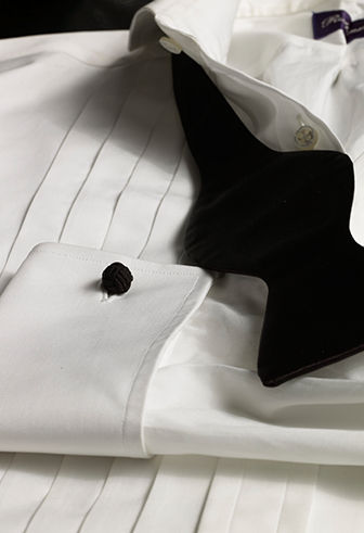 Pleated white dress shirt