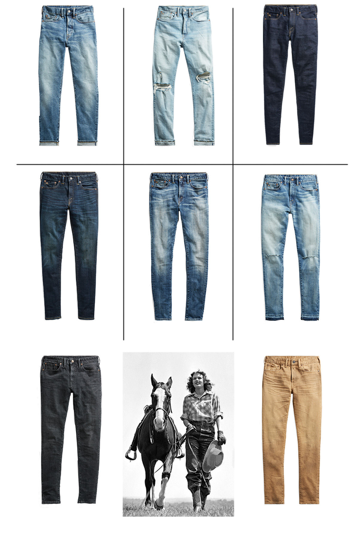 Grid of denim in various fits and treated with different washes
