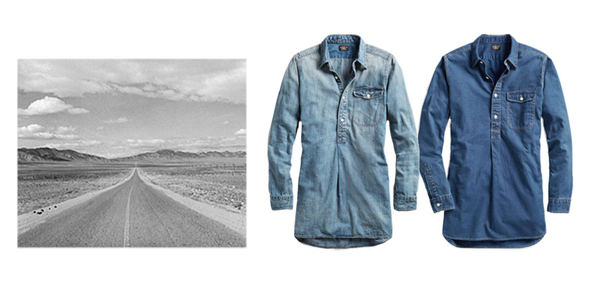 Image of open road next to denim tunics of different shades