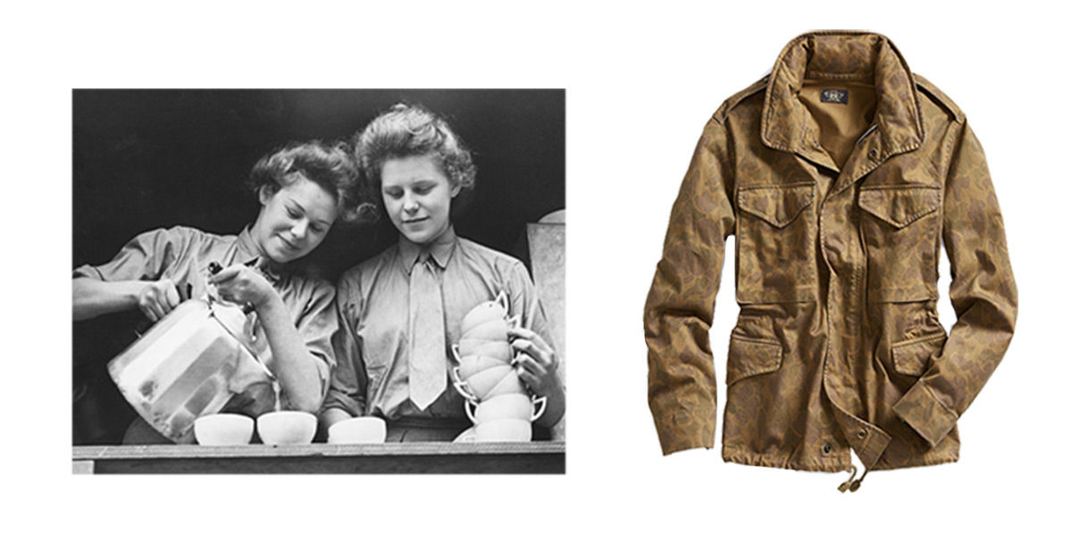 Vintage photo of women pouring coffee next to subtle-camo-print jacket