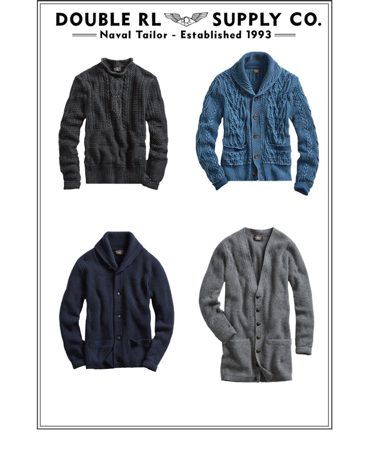 Grid of sweaters, from rollnecks to cardigans, with different stitches