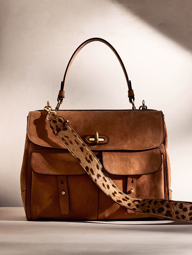 Leopard-print haircalf and python Soft Ricky Bag