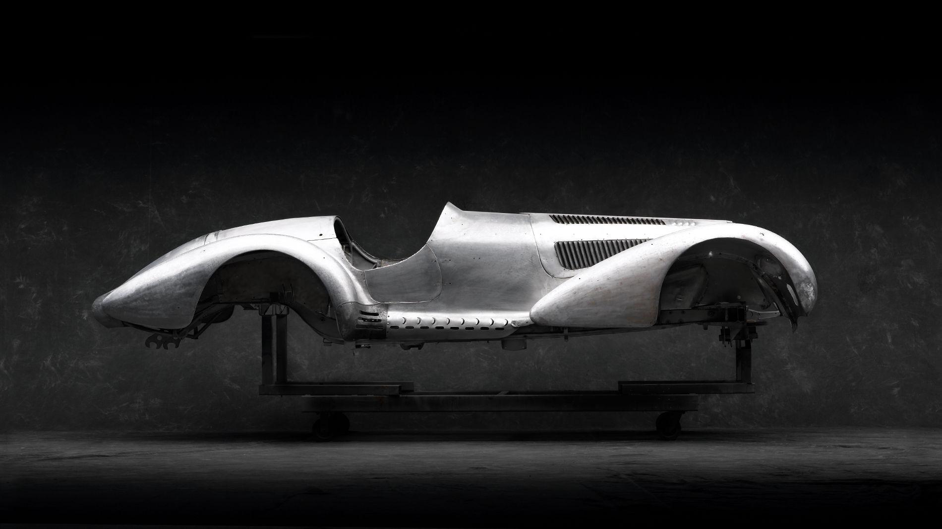 The frame of a vintage race car