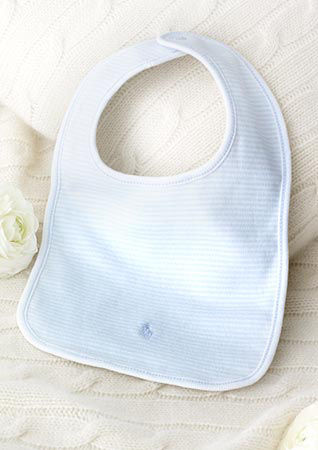 Bib with pastel blue stripes