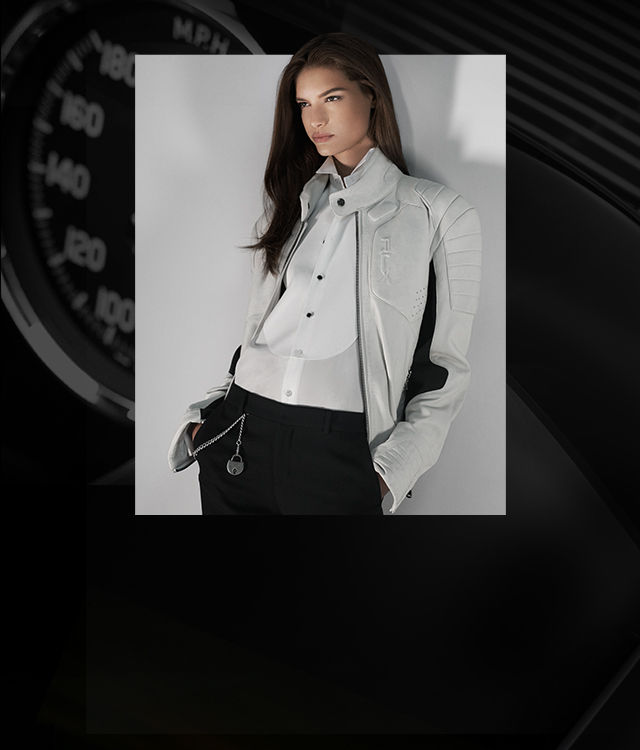 Model in white moto jacket with piecing at the shoulders & cuffs