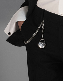 Silver pocket chain with lock