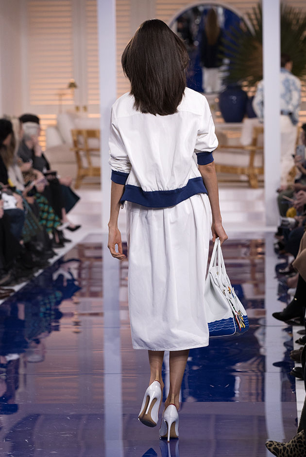 Back view of Model in Look 11 from Ralph Lauren's Spring 2018 Fashion Show