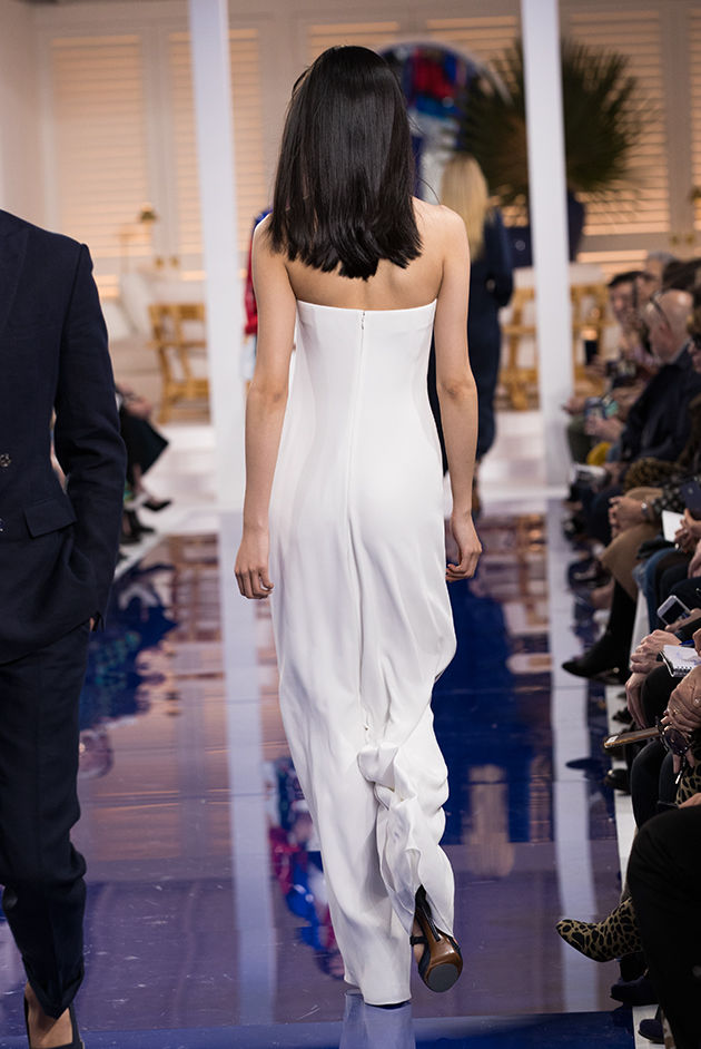 Back view of Model in Look 17 from Ralph Lauren's Spring 2018 Fashion Show