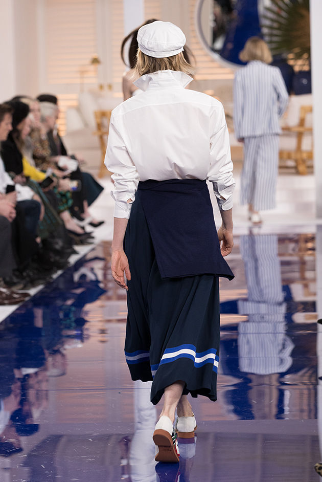 Back view of Model in Look 24 from Ralph Lauren's Spring 2018 Fashion Show