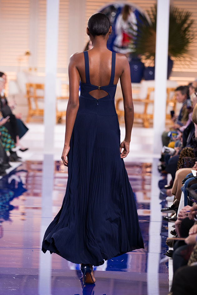 Back view of Model in Look 37 from Ralph Lauren's Spring 2018 Fashion Show