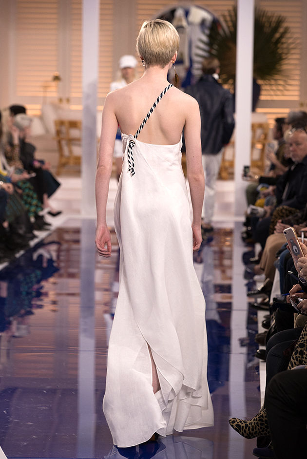 Back view of Model in Look 41 from Ralph Lauren's Spring 2018 Fashion Show
