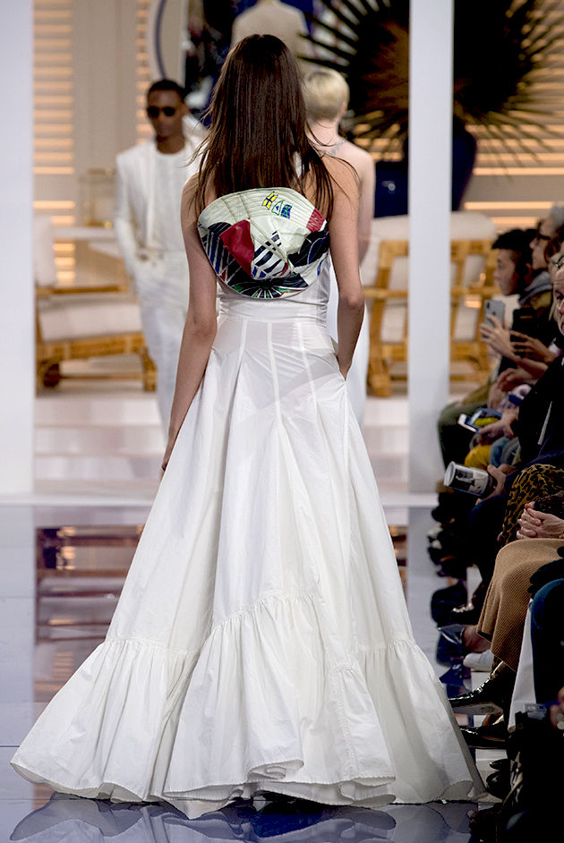 Back view of Model in Look 42 from Ralph Lauren's Spring 2018 Fashion Show