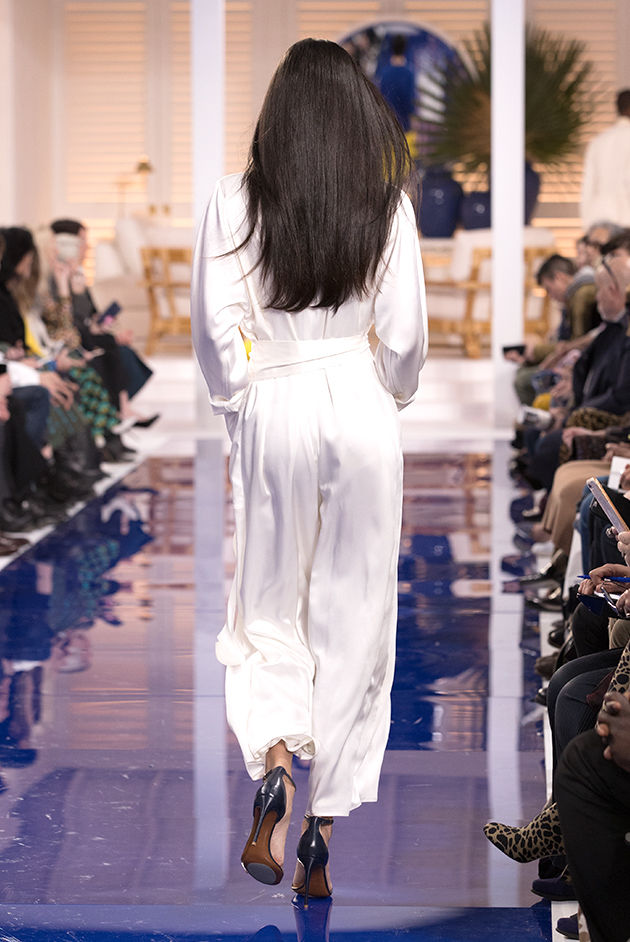 Back view of Model in Look 45 from Ralph Lauren's Spring 2018 Fashion Show