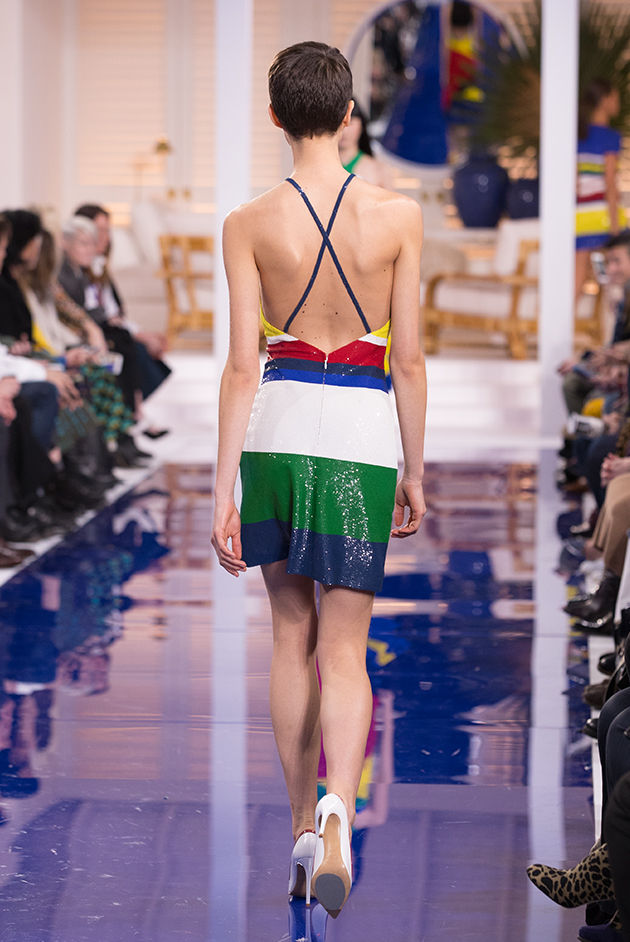 Back view of Model in Look 53 from Ralph Lauren's Spring 2018 Fashion Show